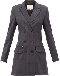 Tibi Windowpane-check Blazer Dress - Gray