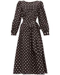 Marc Jacobs ベルテッド ポルカドット シルクミディドレス - ブラック
