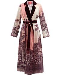 F.R.S For Restless Sleepers Pomona Foliage-print Silk-satin Wrap Coat - Multicolour