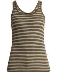 ATM - Striped Ribbed Jersey Tank Top - Lyst
