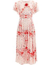 Rodarte Organza-collar Silk-satin Gown - Red