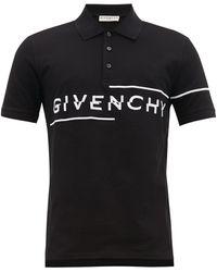 Givenchy Asymmetrical Embroidered Logo Polo Shirt - Black