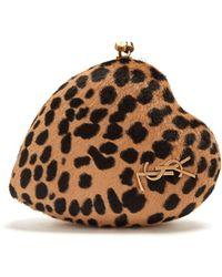 Saint Laurent - Love Box Leopard Print Calf Hair Clutch - Lyst