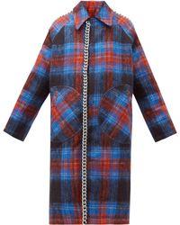 CHARLES JEFFREY LOVERBOY Chain Trim Single Breasted Tartan Wool Coat - Blue