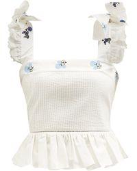 Lug Von Siga Ornella Floral-embroidered Cotton Top - White