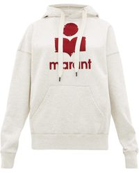 Étoile Isabel Marant Mansel Flocked-logo Cotton-blend Hooded Sweatshirt - Gray