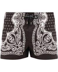 Dolce & Gabbana Bandana-print Swim Shorts - Black