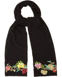 Etro | Floral-embroidered Silk Scarf | Lyst
