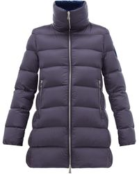 Moncler Torcon Velvet-lined Quilted-down Coat - Blue