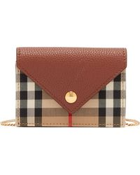 Burberry Jade Vintage-check Chain-strap Leather Wallet - Brown