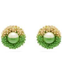 Marine Serre Paint Dipped Vintage Earrings - Green