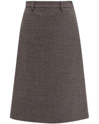 Prada A Line Wool Blend Tweed Skirt - Gray