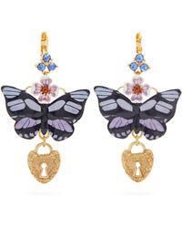 Dolce & Gabbana - Butterfly And Heart-drop Earrings - Lyst