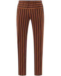 Wales Bonner - Kingston Elasticated-waist Striped Wool Trousers - Lyst