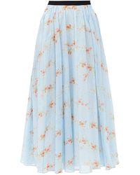 Emilia Wickstead Jupe midi en coton à imprimé floral Alula - Bleu