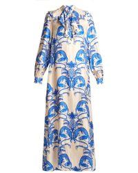 Gucci - Dragon-print Ruffle-trim Silk-twill Dress - Lyst