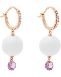 Raphaele Canot 18kt Rose-gold & Agate Drop Earrings - Metallic