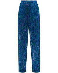 Kenneth Ize Swirl-print Pleated-organza Trousers - Blue