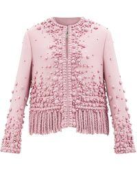 Valentino フリンジ ウールシルクジャケット - ピンク