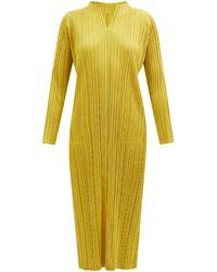 Pleats Please Issey Miyake Notch-neck Technical-pleated Midi Dress - Yellow