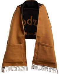 Burberry Helene Logo Intarsia Wool Blend Hooded Scarf - Multicolour