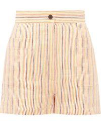 Three Graces London Osmo Striped Linen Shorts - Orange