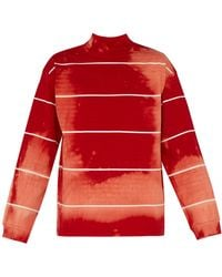 Balenciaga Tie Dyed Cotton Jersey Sweater - Red
