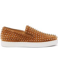 Christian Louboutin Roller-boat Spike-embellished Suede Trainers - Multicolour