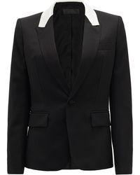 Haider Ackermann コントラストパネル ウールシングルジャケット - ブラック