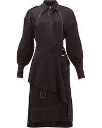 Proenza Schouler トップステッチ ギャバジンシャツドレス - ブラック