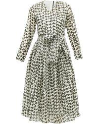 Sara Lanzi Houndstooth-print Cotton-blend Midi Dress - Black