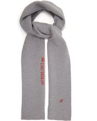 Raf Simons Logo-embroidered Wool-blend Scarf - Grey