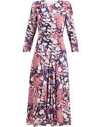 Raey Bracelet Sleeve Splodge-print Silk Dress - Purple