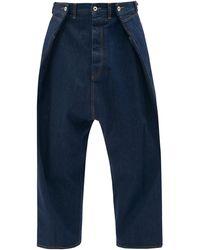 Loewe クロップド フロントタック ワイドジーンズ - ブルー