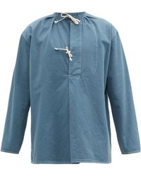 Maison Margiela コットンヘリンボーン シャツ - ブルー