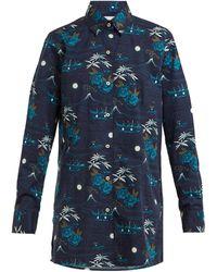 Thorsun Georgie Polynesian-print Cotton Shirt - Blue