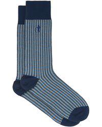 London Sock Company Shaken & Stirred Checked Cotton-blend Socks - Blue