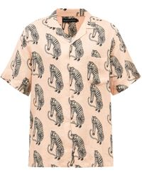 Desmond & Dempsey Sansindo Tiger-print Linen Pyjama Shirt - Multicolour