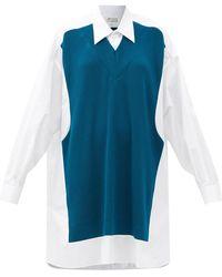 Maison Margiela リブニットパネル コットンポプリンシャツドレス - ブルー
