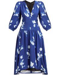 Proenza Schouler ローズプリント Vネッククレープドレス - ブルー