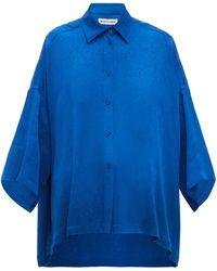 Balenciaga Floral-jacquard Shirt - Blue