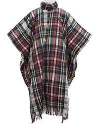 Marine Serre Reversible Hooded Plaid And Lamé Poncho - Multicolour