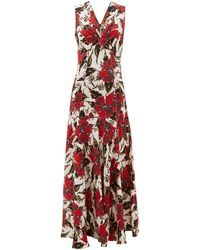Colville Floral-print Panelled Crepe Maxi Dress - Red
