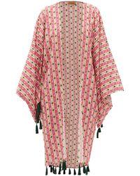 Muzungu Sisters Blossom Tasselled Floral-print Silk Robe - Pink