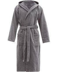 Schiesser Hooded Cotton-terry Robe - Gray