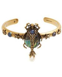 Alexander McQueen - Embellished Beetle Open Bangle - Lyst