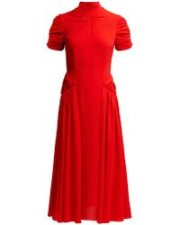 Emilia Wickstead Ariane High Neck Crepe Midi Dress - Red