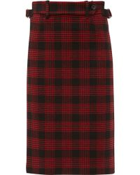 RED Valentino Prince Of Wales Pencil Skirt - Red