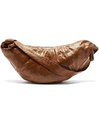 Lemaire Croissant Large Coated-linen Cross-body Bag - Brown