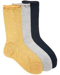 Raey Pack Of Three Roll-top Silk Socks - Multicolor